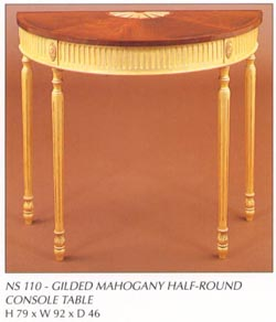 Gilded Mahogany Half-Round Console Table