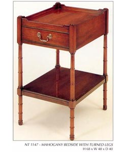 Mahogany Bedside with Turned Legs