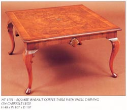 Square Walnut Coffee Table with Shell