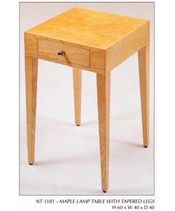 Maple Lamp Table with Tapered Legs