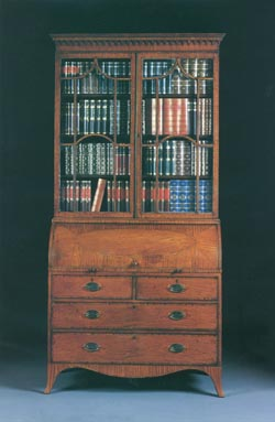 Regency Satinwood Roll Top Bookcase