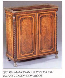 Mahogany & Rosewood Inlaid 2-Door Commode