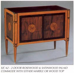 2-Door Rosewood & Satinwood Inlaid Commode
