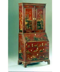Bureau Bookcase in Chinoiserie Hand Painted Finish